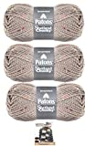 Patons Shetland Chunky Tweed Yarn Wool Blend Pattern for Hat and Scarf Included (3 Pack) (Toasty Tweed)