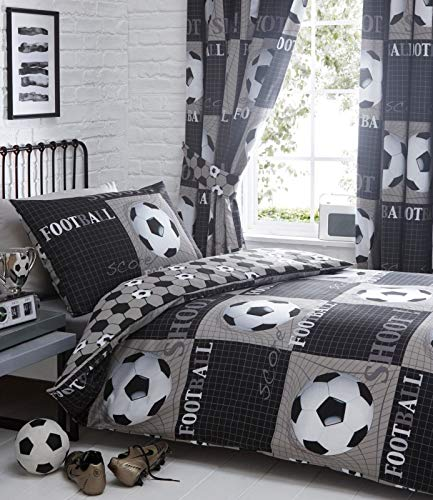 Shoot Football Double Duvet Cover and 2 Pillowcase Bed Set, Polyester-Cotton, Grey