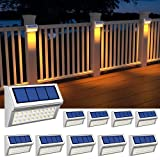 ROSHWEY 10 Pack Outdoor Solar Lights, Solar Fence Lights with 30 LED Deck Lights Waterproof Solar Lights Outdoor for Garden Pathway Patio (Warm White)