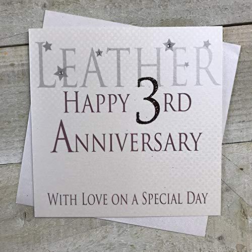 witte katoenen kaarten Lederen Happy 3rd Love Op Een Speciale Dag, Handgemaakte Verjaardagskaart (Code AW3)