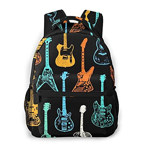 USGYY Mochilas Escolares, Guitarra Acústica Eléctrica Rock Mochila Niños Chicas Casual Mochila...