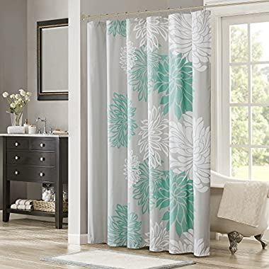Comfort Spaces – Enya Shower Curtain – Aqua, Grey – Floral Printed- 72x72 inches