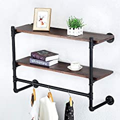 Industrial Pipe Clothing Rack Wall Mounted with Real Wood Shelf,Pipe Shelving Floating Shelves Wall Shelf,Rustic Retail Garment Rack Display Rack Cloths Rack,36in Steam punk Commercial Clothes Racks #5