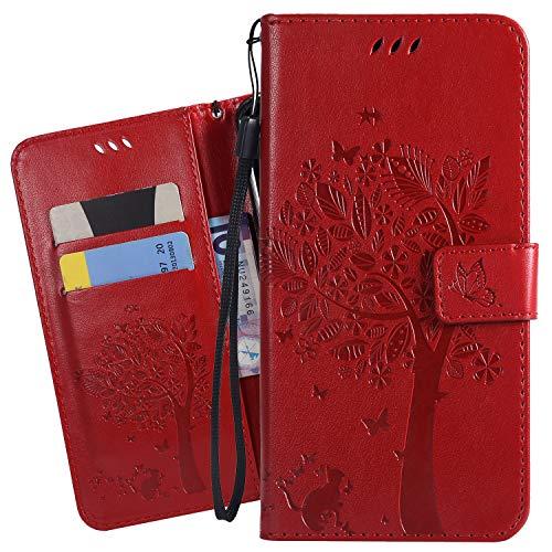 Ougger Handyhülle für LG K40 Tasche Schutzhülle Weich Tasche Magnet Bumper TPU Silikon Beutel Cover Leder Hülle für LG K40 mit Visitenkartenhüllen, Katze und Baum (Rot)