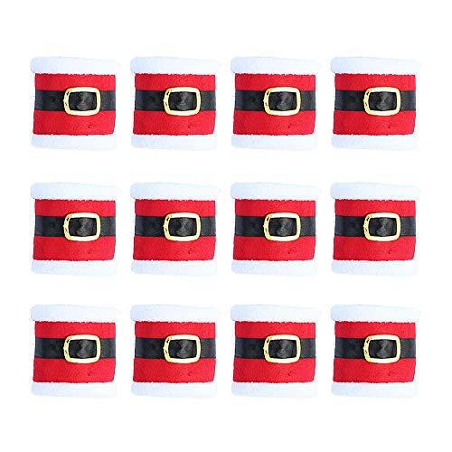 Gobesty Weihnachtsserviettenring, 10 Stück Weihnachtsserviettenring-Set Gürtelform Serviettenring für Weihnachten Weihnachtsmann