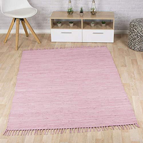 Taracarpet Flachweb-Baumwollteppich handgewebter handweb-Teppich Fleckerl Amrum aus 100% Baumwolle -auch bekannt als Dhurry oder Flickenteppich Uni Soft lila 070x140 cm