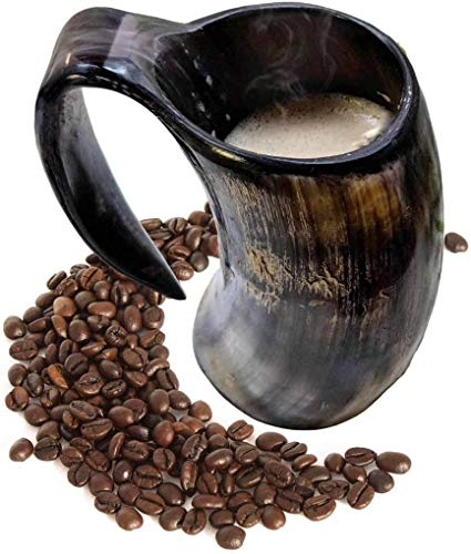 AleHorn - Hot Viking Horn Mug - Safely Holds Hot and Cold Liquids Coffee Tea Hot Chocolate Wine Beer Mead Tall Drinking Cup
