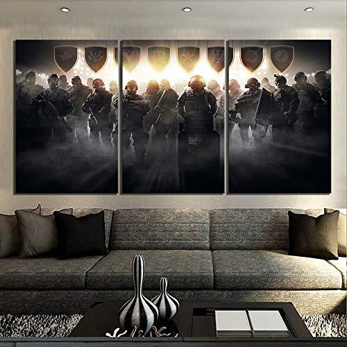 ksjdjok Schießspiel Rainbow 6 Siege Poster Gemälde Tom Clancy Regenbogen Six Siege Videospiel Poster Leinwand Malerei Wandkunst 40X60 cm 3 Stücke