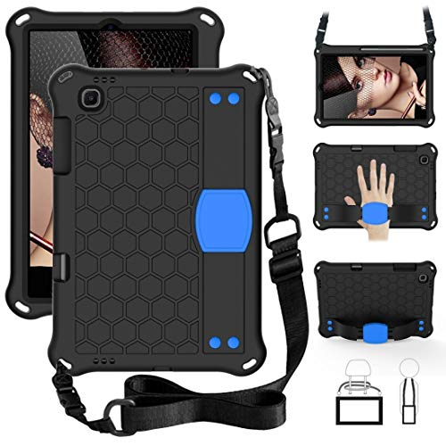 MEMETI Funda para tablet Sansung Galaxy Tab S6 Lite P610 diseño de panal de abeja EVA + PC Material 4 esquinas anti caída plana carcasa protectora con correa (negro + negro) (color: negro + azul)