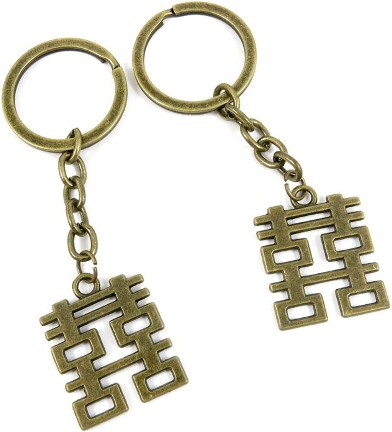 140 Pieces Fashion Jewelry Keyring Keychain Door Car Key Tag Ring Chain Supplier Supply Wholesale Bulk Lots I2SQ8 Double Happiness
