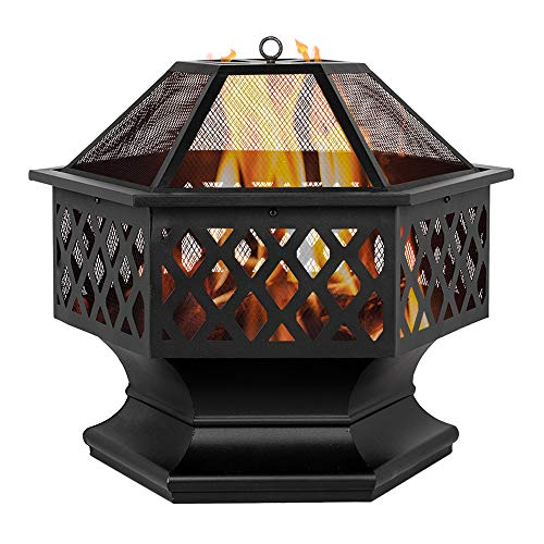 24' Iron Fire Pits with Poker for Garden, Hexagonal Shaped Metal Fire Pit Garden Stove with Spark Screen and Fireplace Cover for Outdoor Patio Backyard Camping Poolside