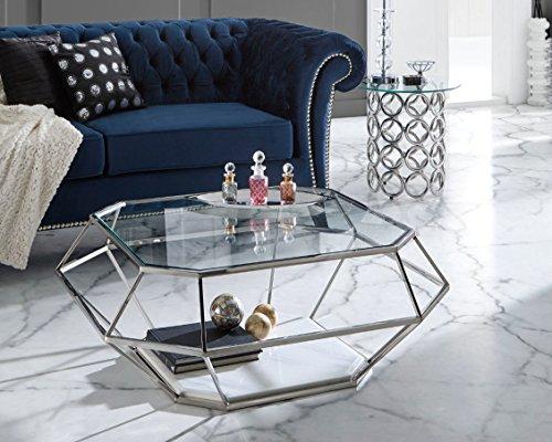 Dugarhome Table basse moderne en acier/marbre 100 x 100 cm