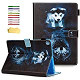 UUcovers Folio Cover for Apple iPad 10.2 inch 8th/7th Generation Case 2020/2019 with Pencil Holder Card Pockets Smart Stand Magnetic PU Leather [Auto Sleep/Wake] TPU Back Shockproof Shell,Wolf and Dog
