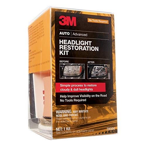 3M Headlight Restoration Kit, Simple Process to Restore Cloudy & Dull Headlights, Hand Application, 1 Kit (39084)
