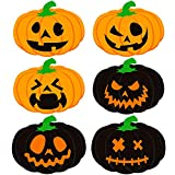 Aneco 6 Pieces Halloween Pumpkin Placemats Halloween Plastic Placemats Place Mats Orange Black Table Placemats for Halloween Party Gift Supplies