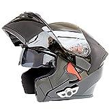 Adulto Motocicleta Casco de certificación Dot inalámbrico, se Puede Utilizar para Montar la conexión del teléfono móvil/walkie-Talkie/Montar Canciones Casco Integral con Gafas Dobles,M