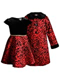 Youngland Girls' Woven Flocked Coat Set with Matching Velvet Dress, Red, 5