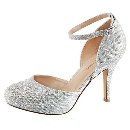 Higher-Heels Fabulicious Pumps Brautschuhe Covet-03 Silber Gr. 42 / US11