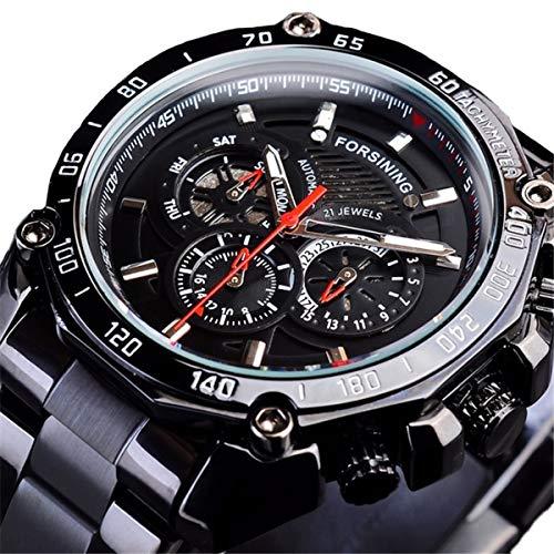 Forsining Herren Automatikuhr Mechanische Automatik Edelstahl Skelett Designer Armbanduhr,colorC