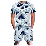 Xmiral T-Shirt Top Camicetta Camicie Pantaloncini Pantaloni Completi Tuta Sportiva Tuta a Due Pezzi Uomo Estate Tempo Libero Sport 3D Geometrica Astratta Fitness Running (5XL,4azzurro)
