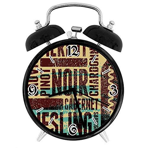 77 xiochgzish Reloj Despertador Digital Merlot Wine Uvas Tipos Grungy Cadet Adecuado para Estudio de Dormitorio de Oficina