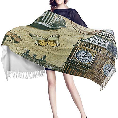 JUGUU Pasminas Mujer Inviernobufanda De Invierno Para Mujer Antiguo Londres Inglaterra Póster Arte Torre Del Reloj Coche Bufandas De Cachemira Cálidas Con Chales De Borla Mujer Hombre Señora Wrap-