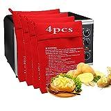 Patate Microonde,Potato Express,Borsa per Patate in Microonde,Sacchetto per Patate Microonde,Patate Microonde Fritte,Patate al Microonde,Patate al Forno(4 pcs)