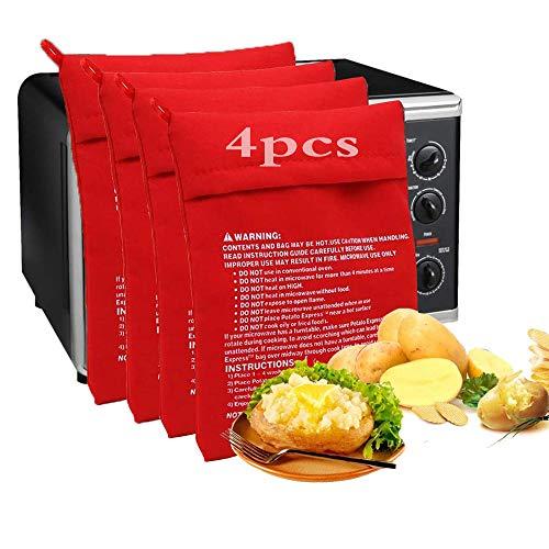 KRIS Bolsa para Patatas Microondas,Bolsa Patatas Guardar,Bolsa Patatas Microondas,Bolsas de Horno para Asar,Bolsa para Patatas Fritas,Patatas Microondas(4 pcs)