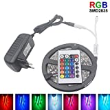 Luces de tira llevadas, luces de tira de cinta con el telecontrol DC 12V RGB diodo IR del regulador LED Franja for el dormitorio Forma fácil de ( Color : 5M Full Set , Size : RGB 2835 Remote Battery )