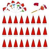 FANDE Mini Sombreros Navideños, 30 Gorros Navideños, Sombreros de Piruleta, Sombreros para Botellas de Vino, Vajilla Navideña de Bricolaje, Decoraciones de Mesa, Adornos Navideños (Rojo)