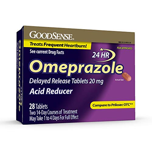 GoodSense Omeprazole Delayed Release Tablets 20 mg, Stomach Acid Reducer for Frequent Heartburn Treatment, 28 Count