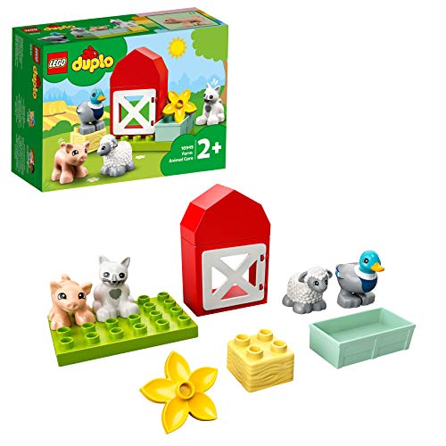 LEGO 10949 DUPLO Tierpflege auf dem Bauernhof Kleinkinder Spielzeug ab 2 Jahren mit Ente, Schwein, Schaf und Katze Figuren