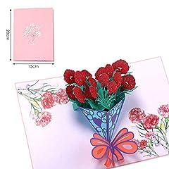 Idea Regalo - Bllomsem Carta Festa Della Mamma, pop-up 3D biglietto di auguri per mamma, biglietto di auguri per il fiore del garofano per il compleanno della mamma e la festa della mamma