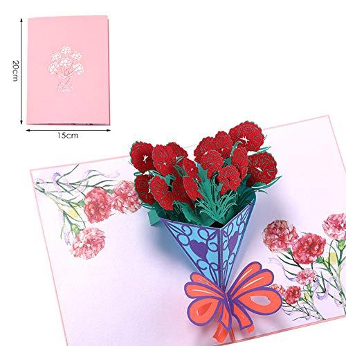 Bllomsem Tarjeta del día de la madre, 3D emergente Tarjeta de cumpleaños para la madre, Tarjeta de felicitación Flor de clavel, El mejor regalo para el cumpleaños de la madre y el Día de la madre