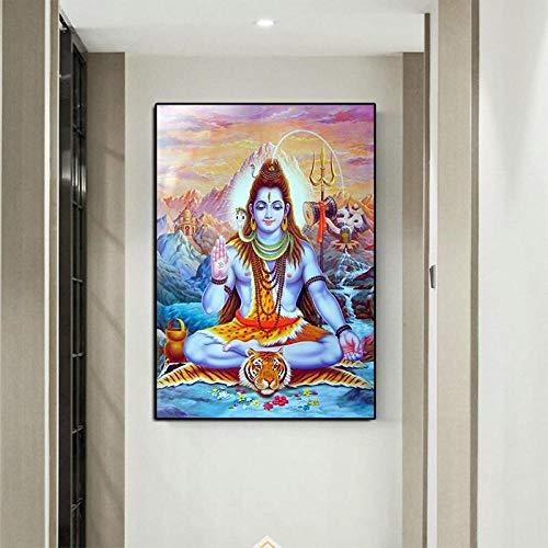 QianLei Pinturas de Dioses hindúes en la Pared Cuadros para la Sala Cuadros modulares Señor Shiva Carteles-30X45cm Sin Marco