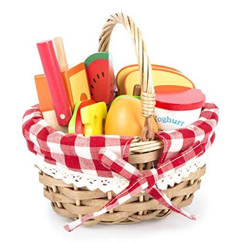 Small Foot 11282 Picknickkorb mit Schneide-Lebensmitteln aus Holz, Kaufladen-Zubehör, Rollenspielzeug für Kinder ab 3 Spielzeug, Mehrfarbig