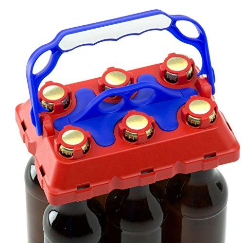 CLICK-IT BOB The Bottle Buddy Flaschenträger I Trage-Hilfe für bis zu 6 Bier-Flaschen I cooles & praktisches Gadget für Deine Party - für 0,33 l Glas-Flaschen I Bottle Carrier (rot/dunkelblau)
