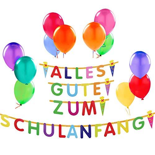 Schulanfang Deko Schuleinführung Girlande Zuckertüte Luftballons Bunte Nanbance Dekoration zur Schuleinführung Einschulung Deko Set