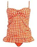 Marina West 2 Piece Bandeau Tankini Swimsuit Set (Medium, GIngham Orange)
