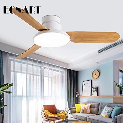 OUPPENG Lámpara de Ventilador Ventilador de techo DC Decorativo de 42 pulgadas LED con control remoto con ventiladores de techo con luz negra ligero con luz 220V Ventilador de Techo