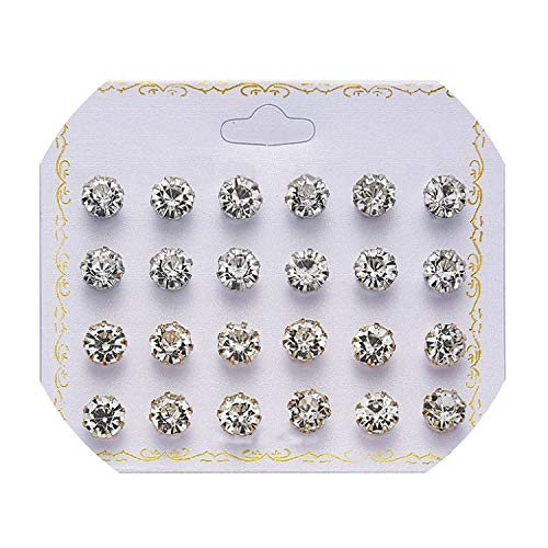 12 pairs/set Crystal Simulated Pearl Earrings Set Women Jewelry Accessories Piercing Ball Stud Earring kit Bijouteria brincos,4