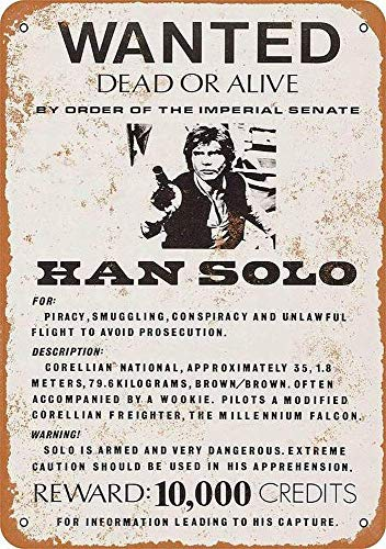 Cimily Han Solo Wanted Poster Vintage Tin Sign Metal Sign Poster Retro Iron Painting Plaque Art Wall Decor 12×8 Inch