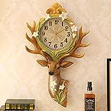 YYF European Wall Clock, Metal, Deer Head Garden Art Wall Clock, Sweeping Movement, 29 inches, Rural Style