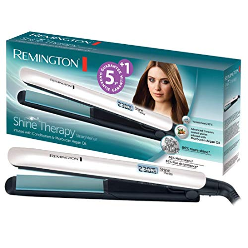 Remington Glätteisen Shine Therapy (hochwertige Keramikbeschichtung angereichert mit Mikrowirkstoffe für mehr Glanz -marokkanisches Arganöl & Vitamin E) LCD-Display, 150-230°C, Haarglätter S8500