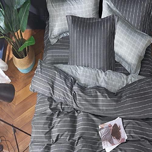 Housse de Couette réversible Percale 220x240 80 Fils/cm² 100% Coton (Linéal Gris)