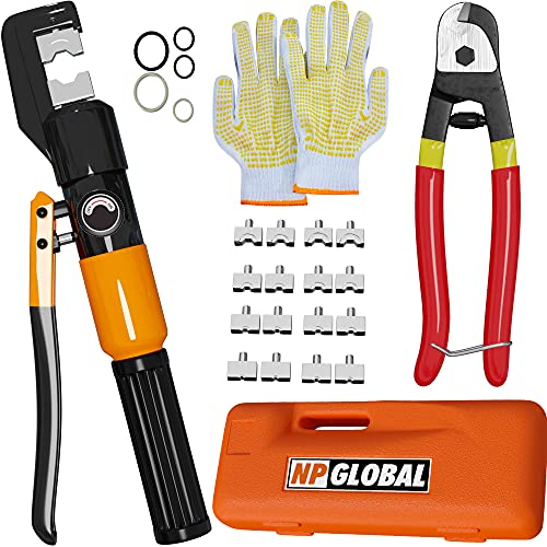 Hydraulic Hand Crimper Tool - Hydraulic Wire Crimping Tool, 10 Ton Cable Crimper, Hydraulic Crimping Tool - 9 set Dies, Carrying Case, Work Gloves, Cable Cutter, Cable Crimper Kit