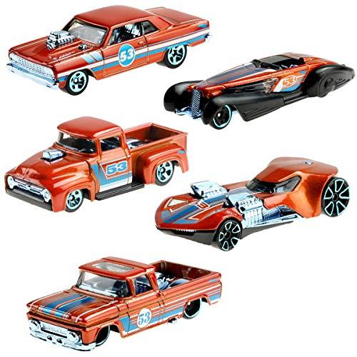 Hot Wheels GGR35 - Juego de 5 coches, color azul y satinado