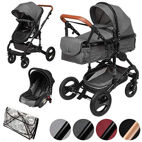 ib style® SOLE 3 in 1 Kombi Kinderwagen | inkl. Auto Babyschale | Zusammenklappbar | inkl. Regen- & Mückenschutz | 0-15kg |Grau/Gestell: Schwarz