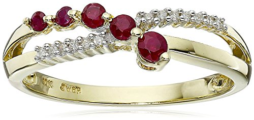 Hot Sale 10k Yellow Gold Ruby and Diamond Journey Ring, Size 7