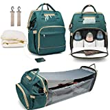 Diaper Bag Backpack Changing Station for Men Women,5-in-1 Travel Bassinet Foldable Baby Bed Portable Travel Crib Infant Sleeper,Baby Nest with Mattress Included
